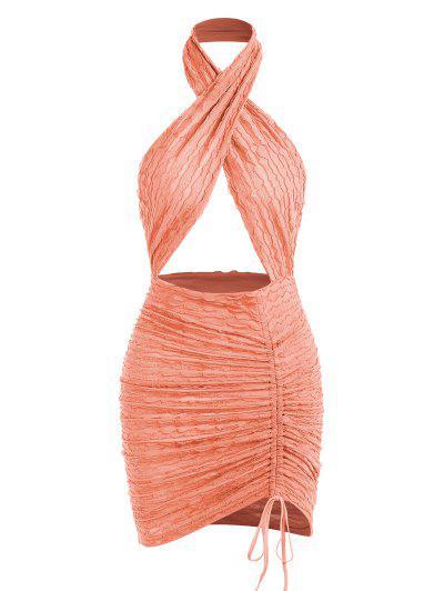 Halter Crossover Frilled Cutout Ruched Slinky Open Back Dress - Light Orange M