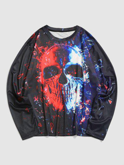 Contrast Skull Print Long Sleeve T-shirt - Multi 2xl