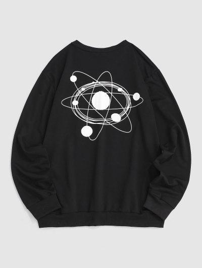 Galaxie Planet Zeichnung Graphikdruck Sweatshirt - Schwarz M