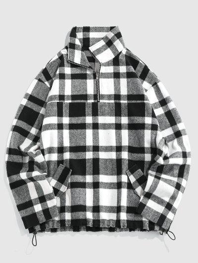 ZAFUL Plaid Print Quarter Zip Wool Blend Pullover Jacket - Black Xl