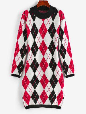 zaful ZAFUL Argyle Mock Neck Slit Sweater Dress