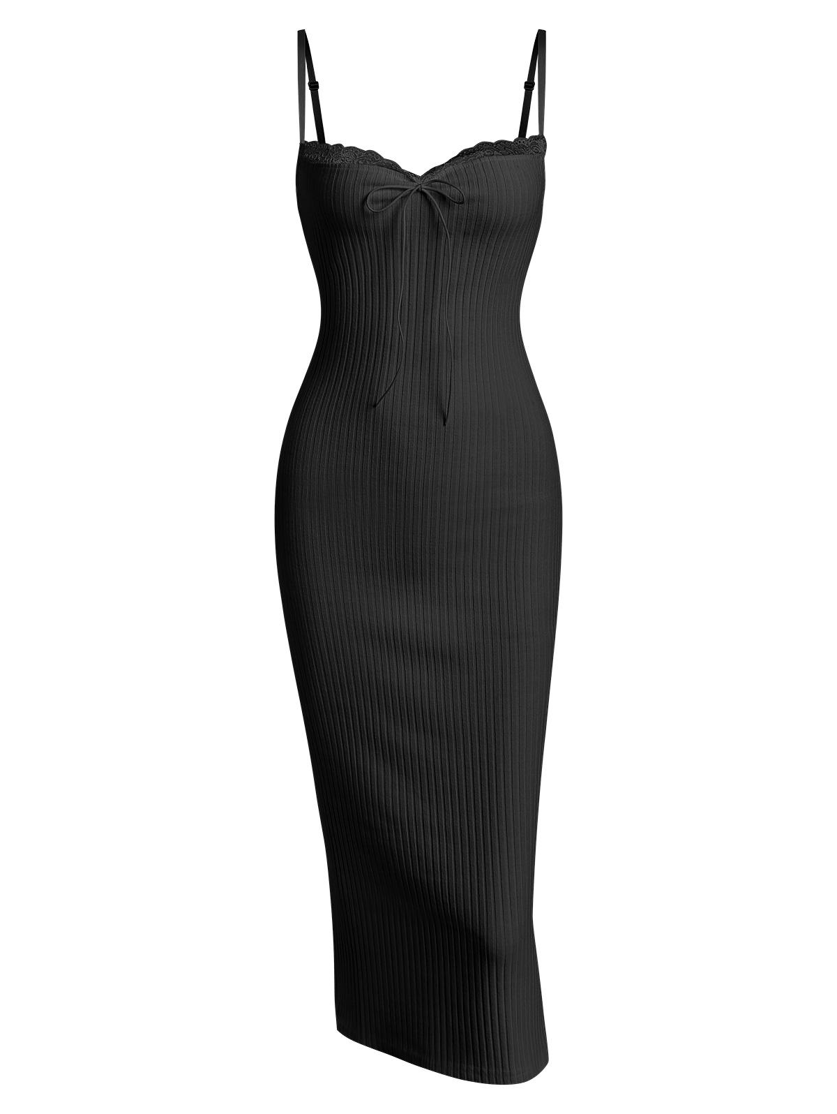 Lace Trim Ribbed Ruched Tie Collar Slinky Dress