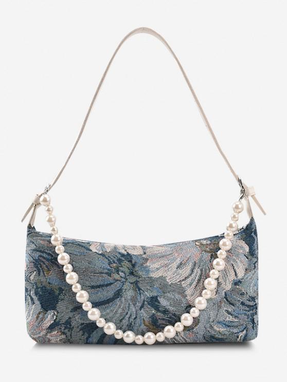 Blumendruck Künstliche Perlen Gurt Umhängetasche - Seiden Blau