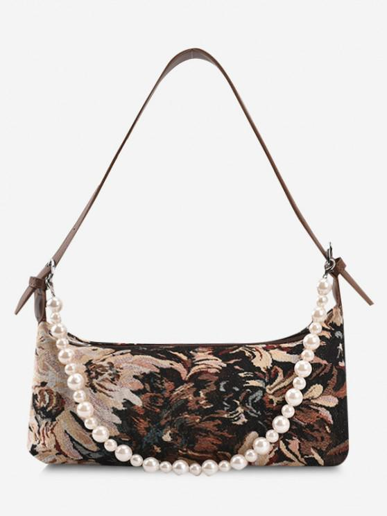hot Flower Print Faux Pearl Strap Shoulder Bag - BROWN