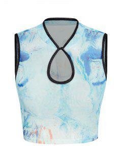 ZAFUL Tie Dye Mesh Keyhole Contrast Trim Crop Tank Top - Blue L