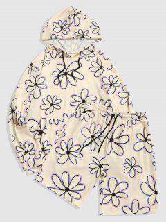 Flower Print Hoodie And Shorts Set - Light Yellow Xl