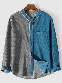 Camisa De Pana Acanalado De Color Bloque - Gris M
