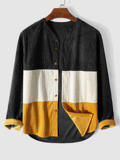 Camisa Pana Asimétrica Bloque Color - Negro Xl