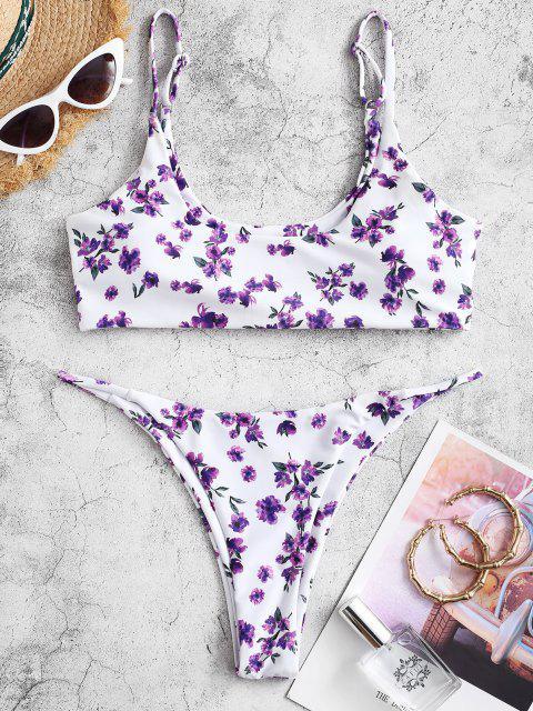 ZAFUL Bikini Fruncido de Corte bajo Floral - Color de malva M Mobile