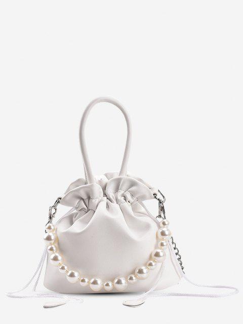 Tunnelzug Künstliche Perle Gurt Handtasche - Weiß  Mobile