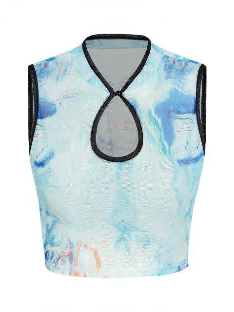 shops ZAFUL Tie Dye Mesh Keyhole Contrast Trim Crop Tank Top - BLUE L Mobile