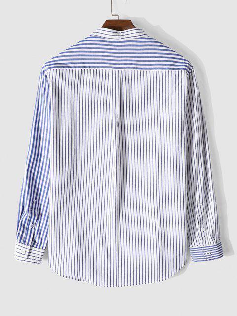 unique Long Sleeve Contrast Striped Print Pocket Shirt - BLUE 3XL Mobile