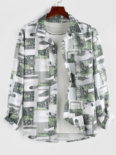 fancy ZAFUL Bohemian Patchwork Print Pocket Shirt - LIGHT GREEN L Mobile