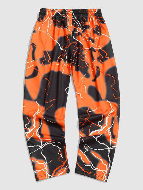 Blitz Farbe Druck Hose - Orange XXL Mobile