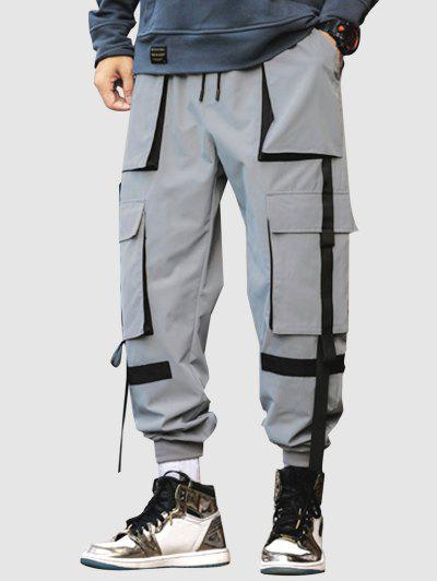 Contrasting Patched Cargo Pants - Light Gray Xl