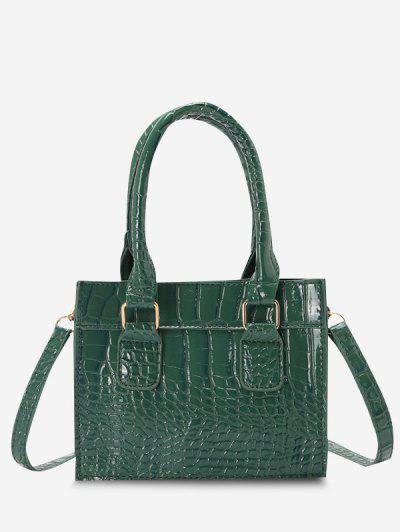 Textured Rectangle Handbag - Deep Green