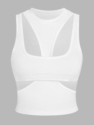 ZAFUL Cut Out Slim Crop Tank Top - White S
