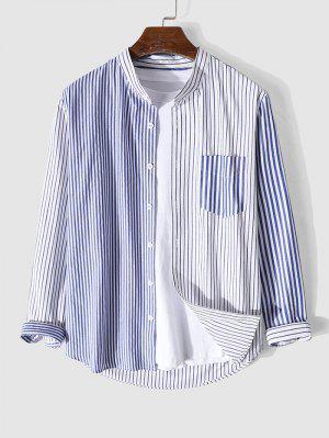 zaful Long Sleeve Contrast Striped Print Pocket Shirt