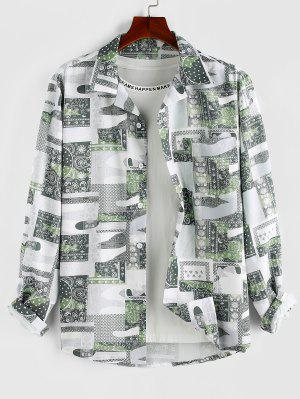 zaful ZAFUL Bohemian Patchwork Print Pocket Shirt