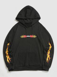 ZAFUL Fire Flame Dice Print Hoodie - Black 2xl