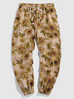 ZAFUL Flower Pattern Pants - Light Yellow S