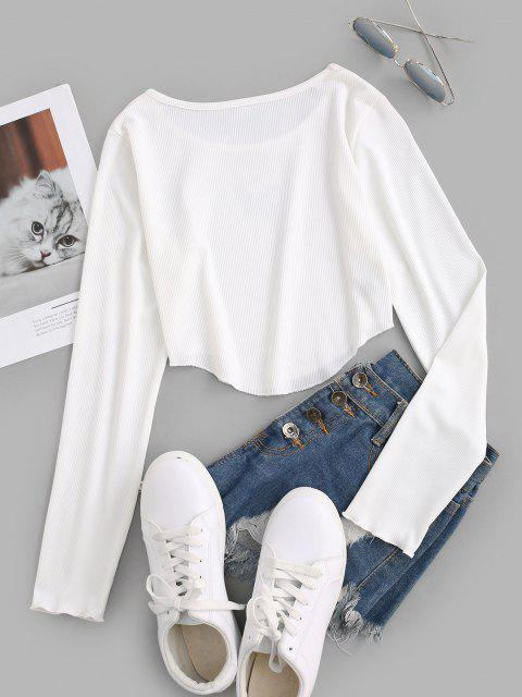 women Ribbed Butterfly Crop Slim Tee - WHITE S Mobile