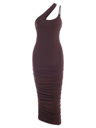 Ribbed One Shoulder Ruched Midi Slinky Dress - Deep Coffee S