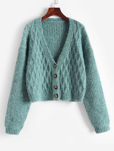Cable Knit Drop Shoulder V Neck Cardigan - Light Green M