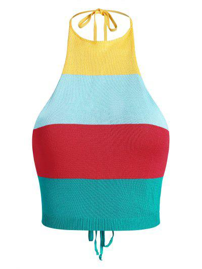Cropped Halter Rainbow Striped Knit Open Back Top - Multi L