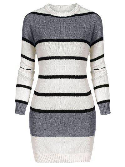 Crew Neck Striped Sweater Dress - Dark Gray L