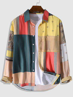zaful Patchwork Print High Low Shirt