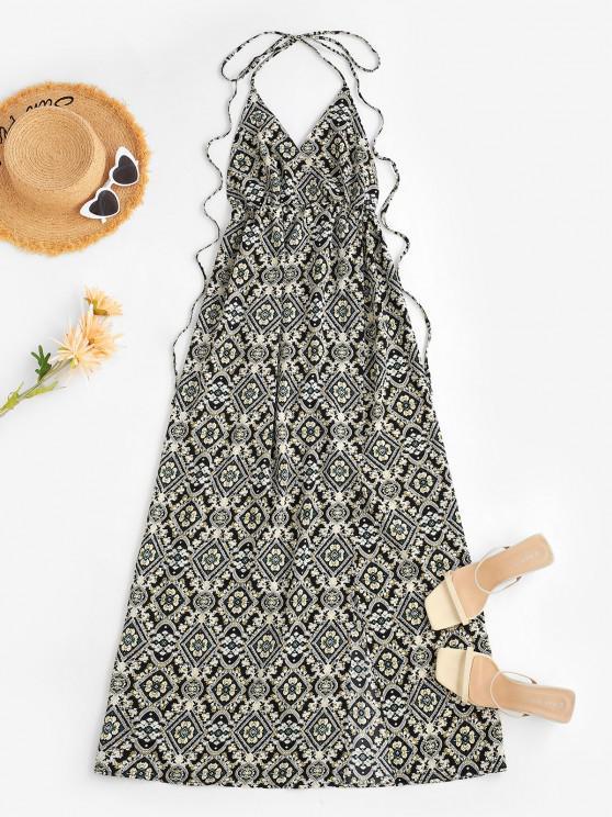 lady Halter Baroque Floral High Split Long Dress - BLACK L