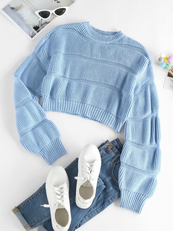 ZAFUL Durchbrochener Crop Pullover - Hellblau S