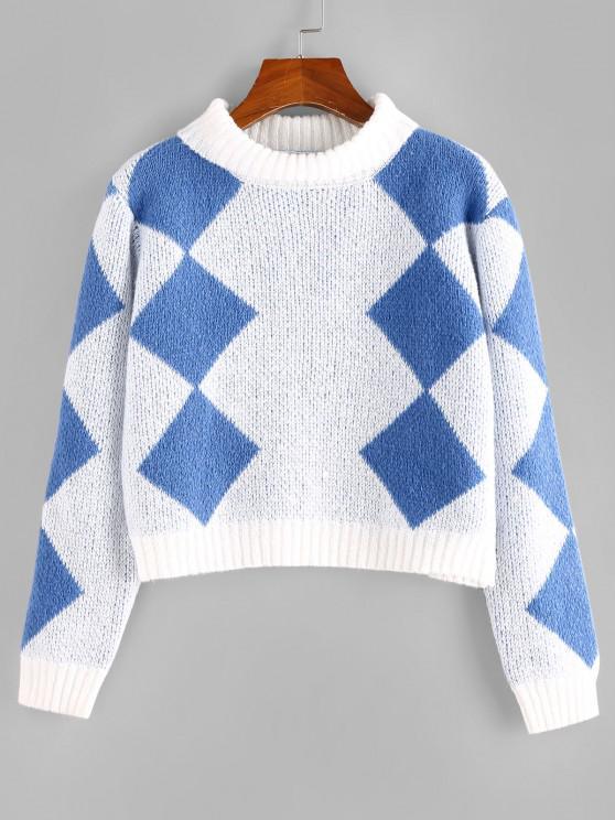 ZAFUL Argyle Crop Pullover - Multi S