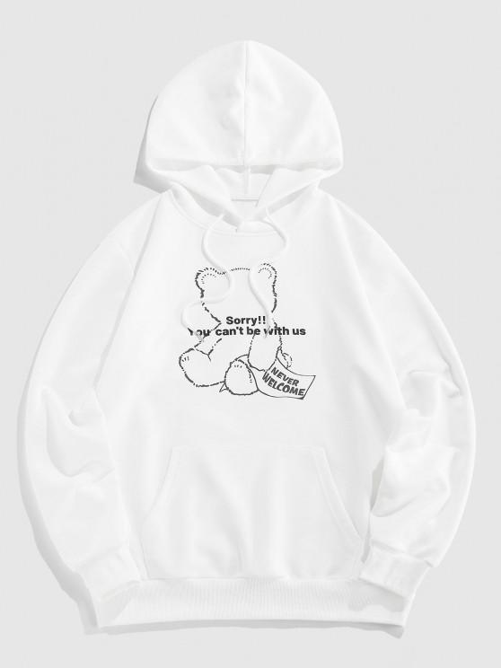 Bear Graphic Pattern Pocket Hoodie - أبيض S