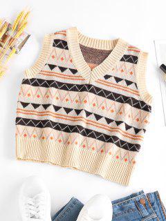 ZAFUL Geometric Pattern Crop Sweater Vest - Multi M