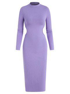 Midi Vestido Acanalado Con Espalda Abierta - Púrpura L
