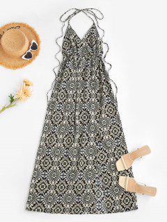 Halfter Barock Blumen Split Langes Kleid - Schwarz M