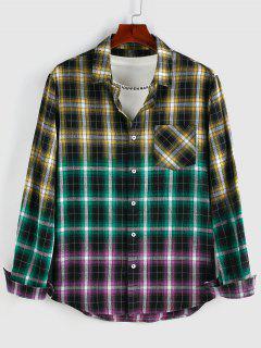 ZAFUL Camisa A Cuadros Con Bolsillo Y Estampado De Color A Cuadros - Amarillo Xl