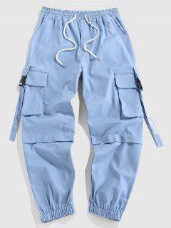 ZAFUL Pantalones De Carga Con Estampado De Letras - Azul Claro Xxl