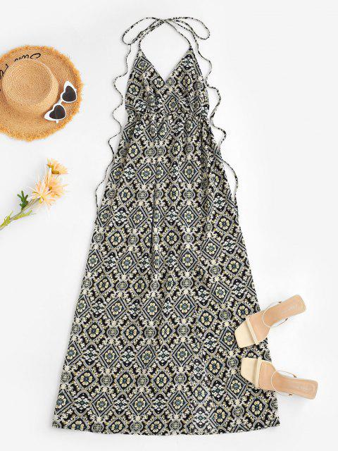 Vestido Floral de Abertura Alta con Escote Pronunciado en Espalda - Negro L Mobile