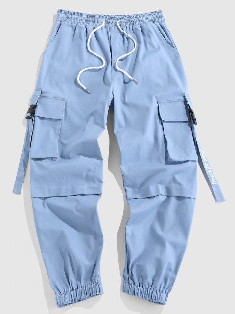 ZAFUL Pantalones de Carga con Estampado de Letras - Azul claro XXL Mobile