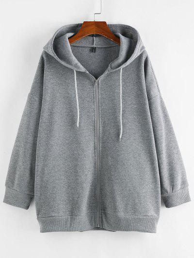ZAFUL Zip Fleece Lined Drop Shoulder Tunic Hoodie - Dark Gray L