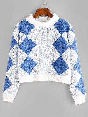zaful ZAFUL Argyle Crop Jumper Sweater