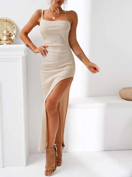 best One Shoulder Rib-knit Thigh Slit Slinky Maxi Dress - LIGHT COFFEE L