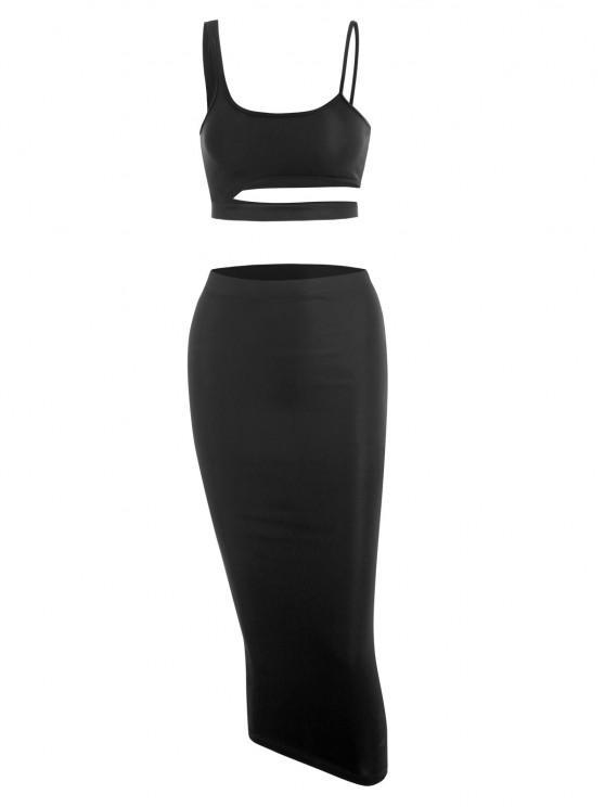 sale Cutout Crop Top and Bodycon Long Skirt Set - BLACK S