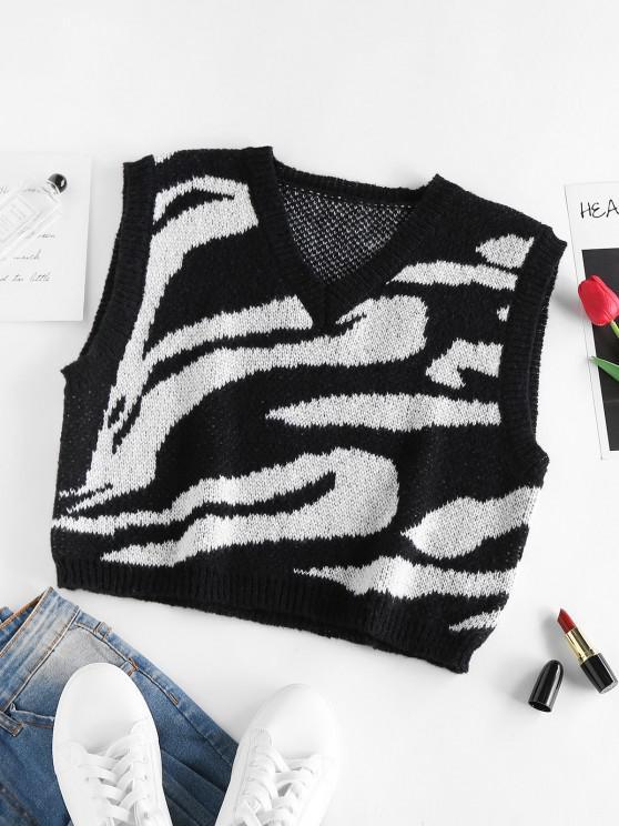 ZAFUL Zebra Pullover Weste mit V Ausschnitt - Multi S