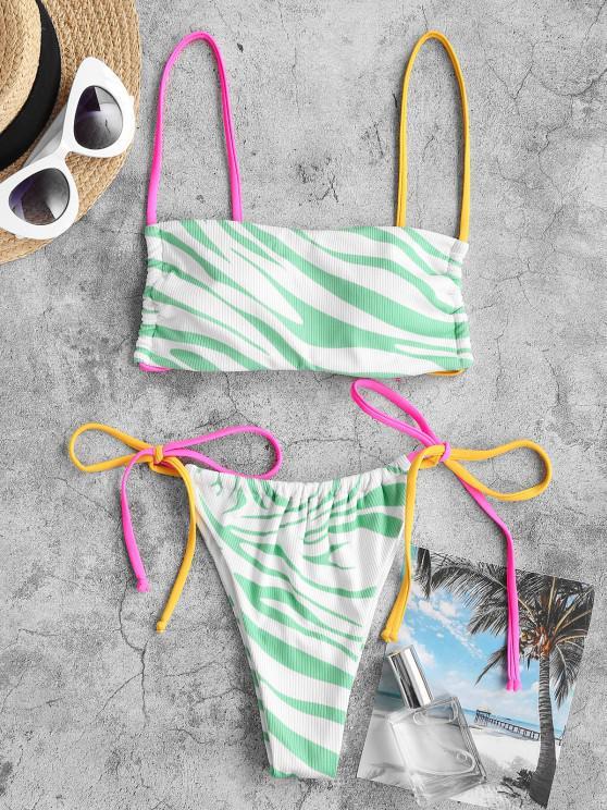 ZAFUL Dalmatian Dots Zebra Ribbed Tanga String Bikini Swimwear - اخضر فاتح L