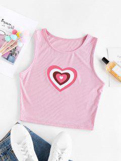 ZAFUL Ribbed Heart Print Crop Tank Top - Light Pink Xl