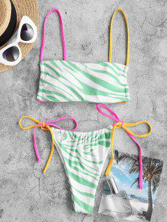 ZAFUL Dalmatian Dots Zebra Ribbed Tanga String Bikini Swimwear - Light Green L